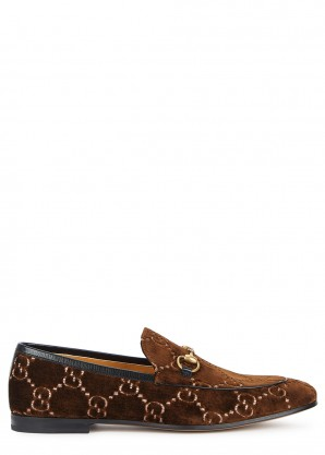 Gucci Jordaan brown monogrammed velvet loafers