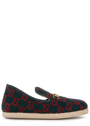 Gucci GG-print green wool loafers