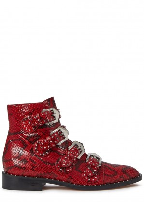 Givenchy Red python-effect leather ankle boots