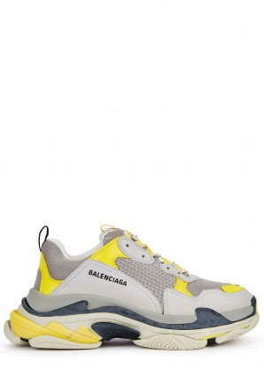 Balenciaga Triple S grey and yellow mesh and nubuck sneakers
