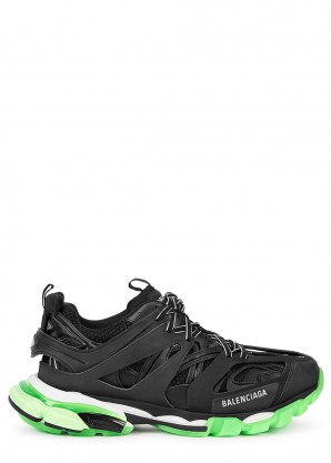 Balenciaga Track black and neon green mesh sneakers