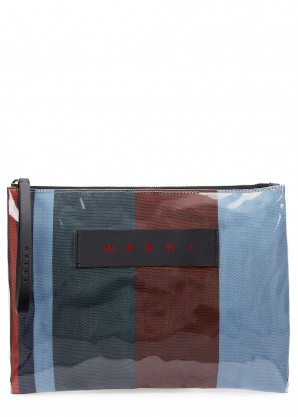 Marni Striped coated canvas pouch