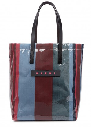 Marni Tonal blue and red striped coated canvas tote