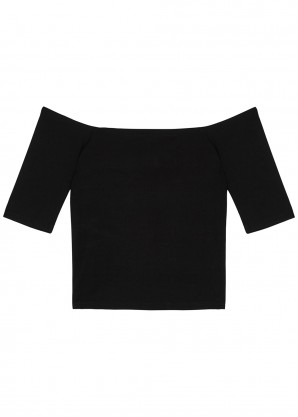 Good American Black off the shoulder jersey top