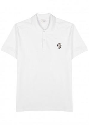 Alexander McQueen White skull-appliquéd cotton polo shirt
