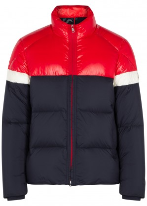 Moncler Konic navy quilted shell coat