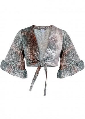 WEST SEVENTY NINE Lolita printed cropped satin top
