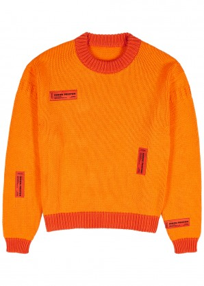 Heron Preston Orange appliquéd cotton jumper