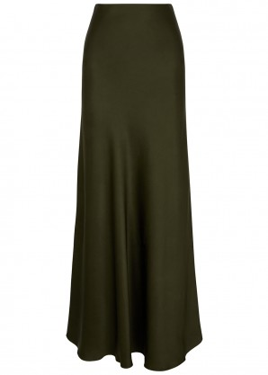 Rosetta Getty Army green satin midi skirt