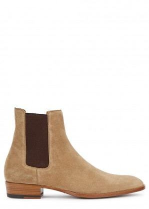 Saint Laurent Wyatt light brown suede Chelsea boots
