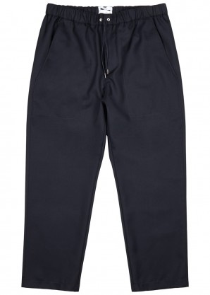 Navy cropped tapered wool trousers