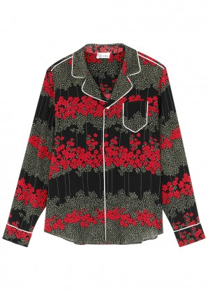 RED Valentino Black floral-print silk shirt