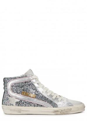 Golden Goose Deluxe Brand Slide glittered leather hi-top sneakers