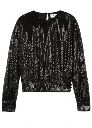 MSGM Black sequinned top