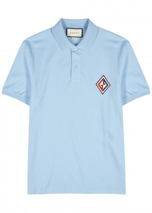 Gucci Blue stretch-cotton polo shirt