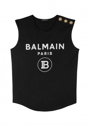 Balmain Black logo-print cotton top