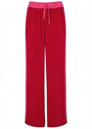 Red wide-leg silk sweatpants