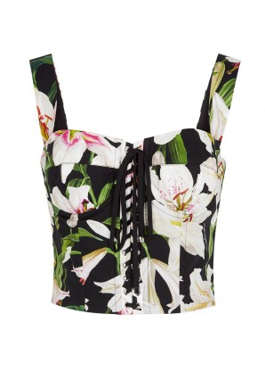Dolce & Gabbana Black lily-print cotton-blend top