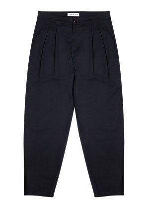 A Kind of Guise Navy pleated tapered wool trousers