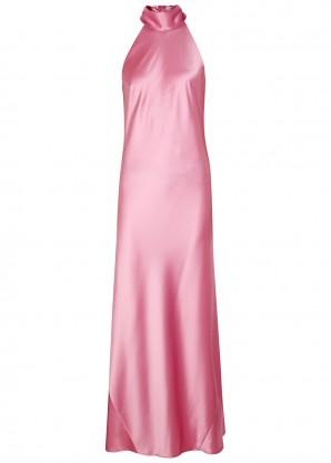 Galvan Sienna pink halterneck satin gown