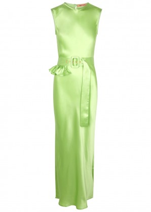 Maggie Marilyn Take A Bite green belted silk maxi dress