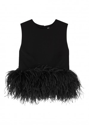 16 Arlington Black feather-trimmed cropped top