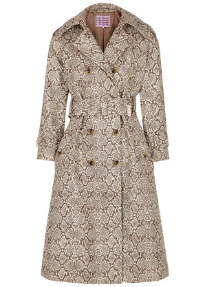 Faux snake trench coat