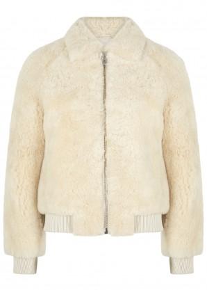 Salvia ecru shearling bomber jacket