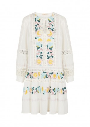 Tory Burch Off-white embroidered cotton dress