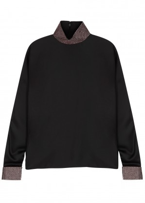 Christopher Kane Black crystal-embellished satin top