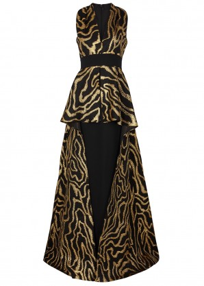 Safiyaa Helia black and gold jacquard gown