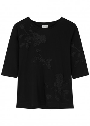 Dries Van Noten Hefiza black embroidered cotton top