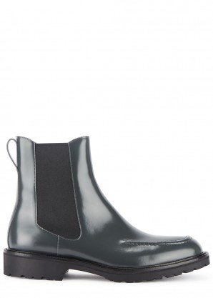 Grey glossed leather Chelsea boots