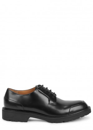 Dries Van Noten Black coated leather Derby shoe