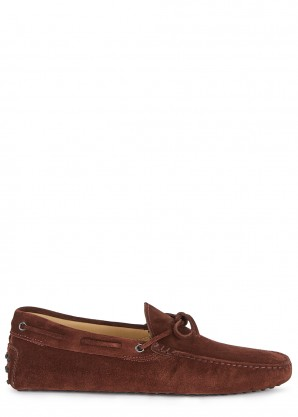 Tod's Gommino burgundy suede driving shoes