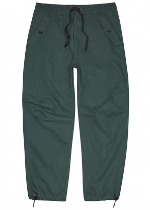 Teal cotton-blend cargo trousers