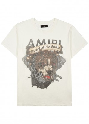 Amiri Off-white printed cotton T-shirt