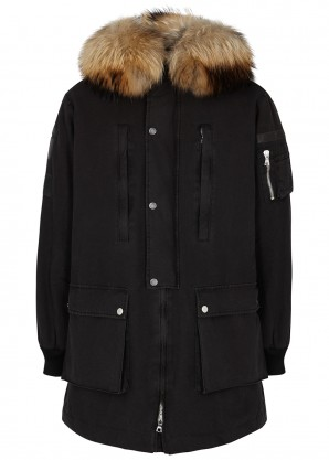 Amiri Black fur-trimmed twill parka