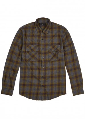 Amiri Checked logo-appliquéd flannel shirt