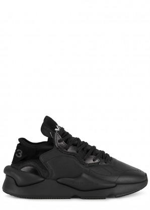 Y-3 Kaiwa black leather sneakers