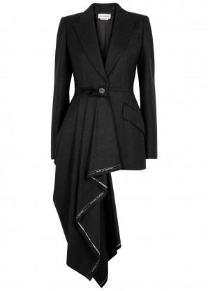Charcoal draped wool blazer