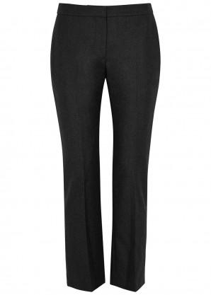 Charcoal slim-leg wool trousers