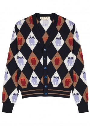 Marni Navy patterned wool cardigan