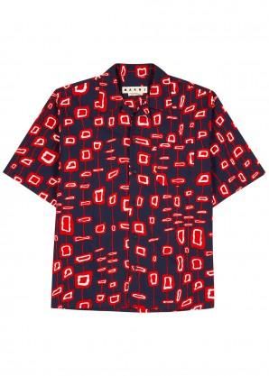 Marni Navy printed cotton shirt