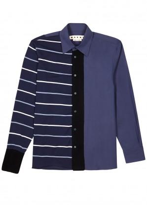 Marni Navy knitted-panel cotton shirt