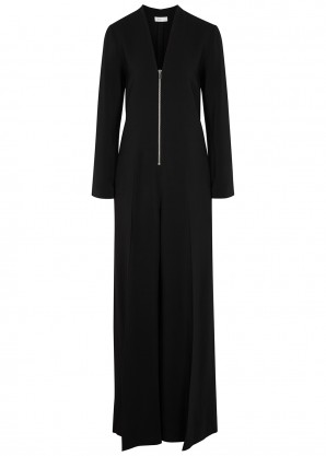 Rosetta Getty Black wide-leg stretch-cady jumpsuit