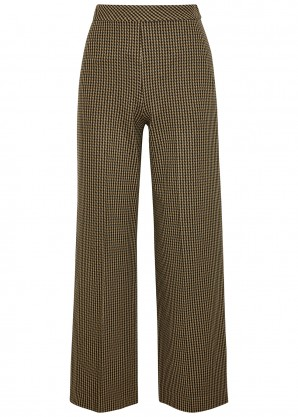 Rosetta Getty Houndstooth cropped wide-leg trousers