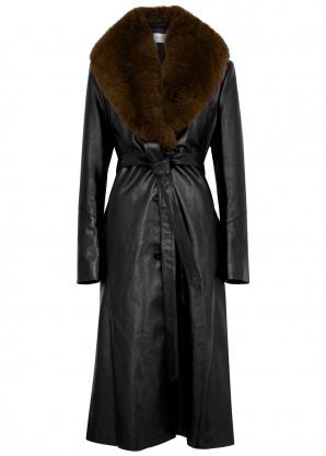 Ohio black fur-trimmed leather coat