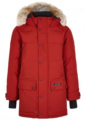 Emory red fur-trimmed parka