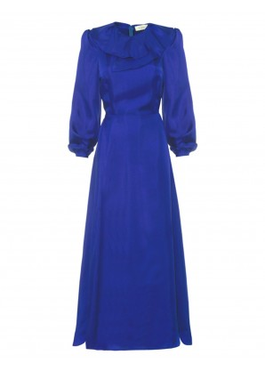 Lisou Sienna silk ruffle neck maxi dress